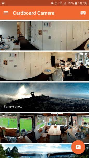 Die Cardboard-Camera-App erzeugt ebenfalls 360-Grad-Fotos, und zwar viel schneller als die Street-View-App. Dafür fehlt aber oben und unten etwas.