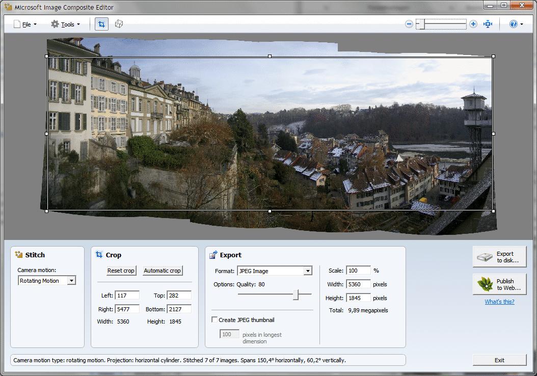 Microsofts kostenloser Image Composite Editor für Windows arbeitet vollautomatisch und produziert trotzdem hochwertige Panoramen.