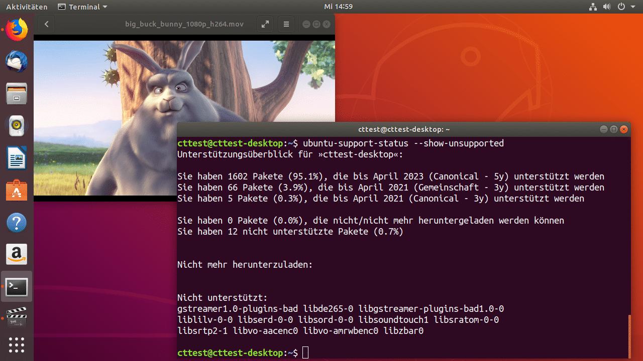 Bereits beim Einspielen der für gängige Video-Formate nötigen Gstreamer-Codecs landen einige Ubuntu-Pakete auf der Platte, bei denen sich bereit erklärt hat, aktuell oder in Zukunft gefundene Sicherheitslücken zu stopfen.