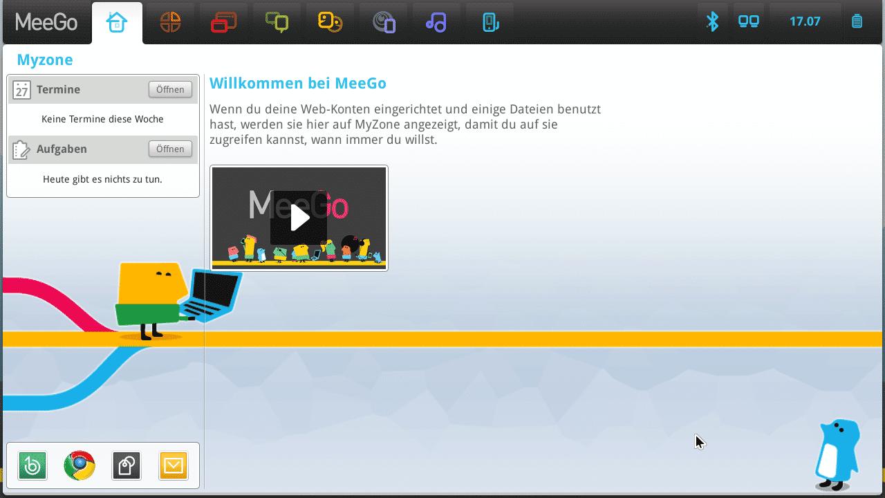 Der MeeGo-Desktop nach dem ersten Start.