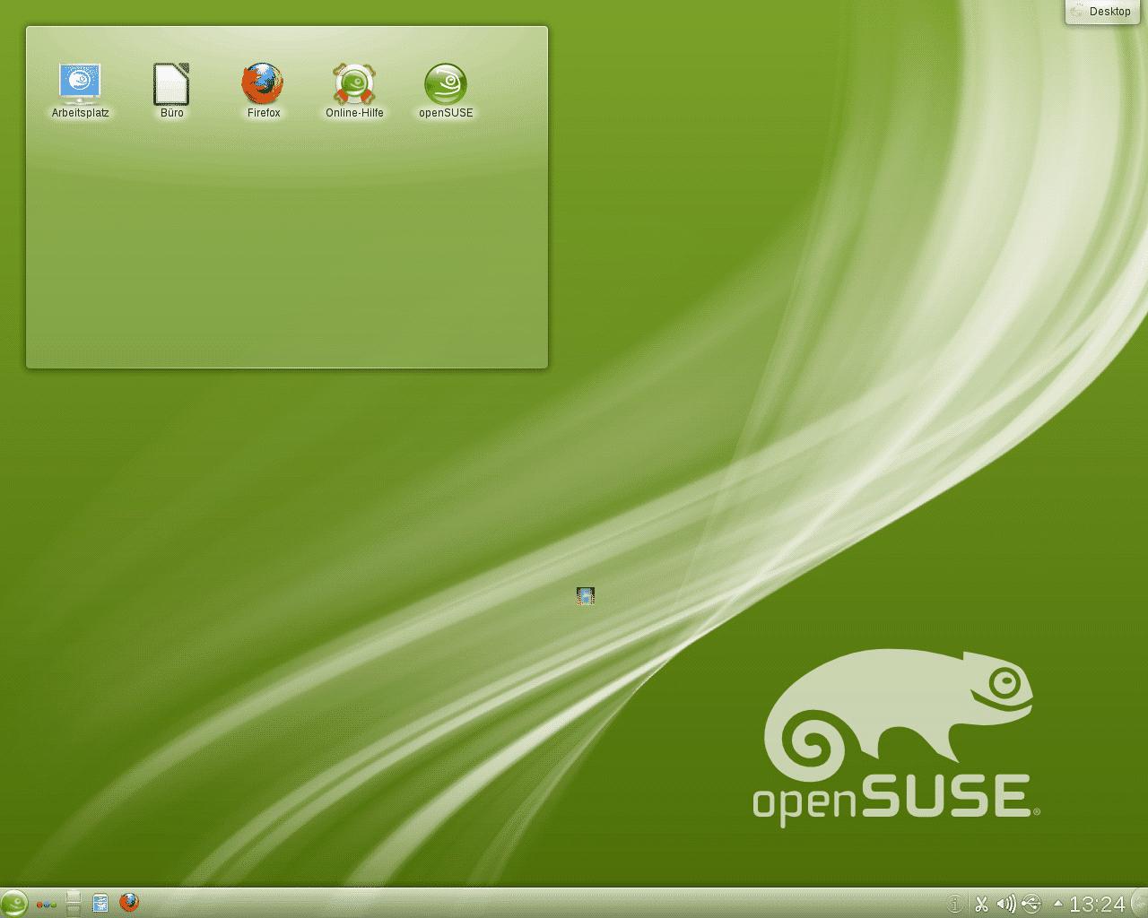 Der KDE-4-Desktop von OpenSuse 12.1