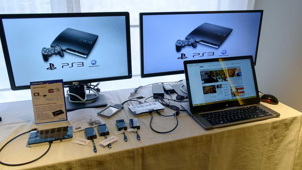 An eine DockPort-Buchse kann man entweder einen DisplayPort-Monitor oder einen DockPort-Adapter anschließen.