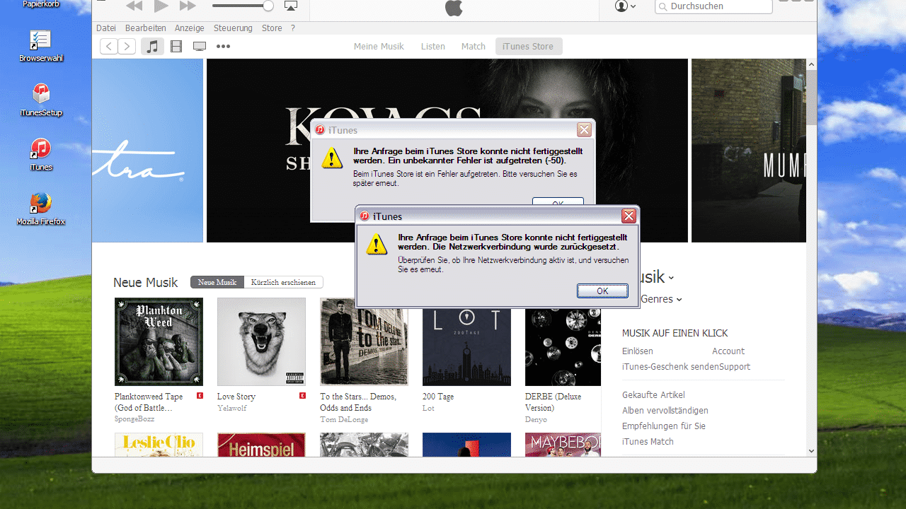 iTunes: Kein Einloggen mit Windows XP