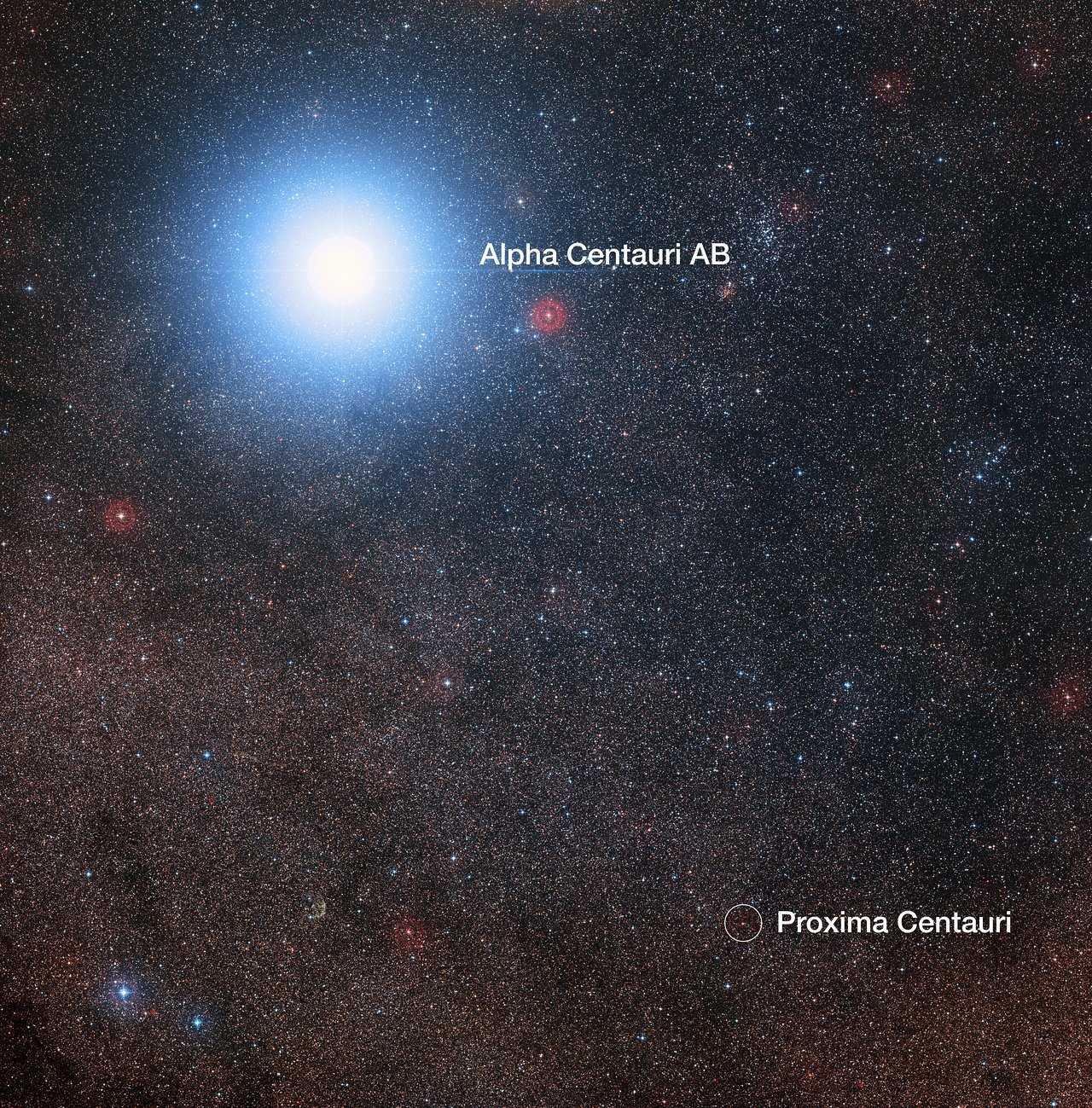 Der Himmel mit Alpha Centauri AB und  dem Roten Zwerg Proxima Centauri, dem zum Sonnensystem nächstgelegenen Stern.
