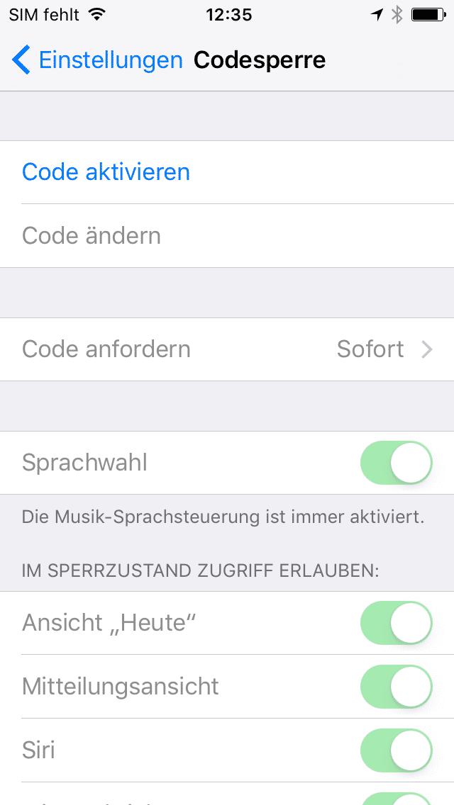 Code-Sperre