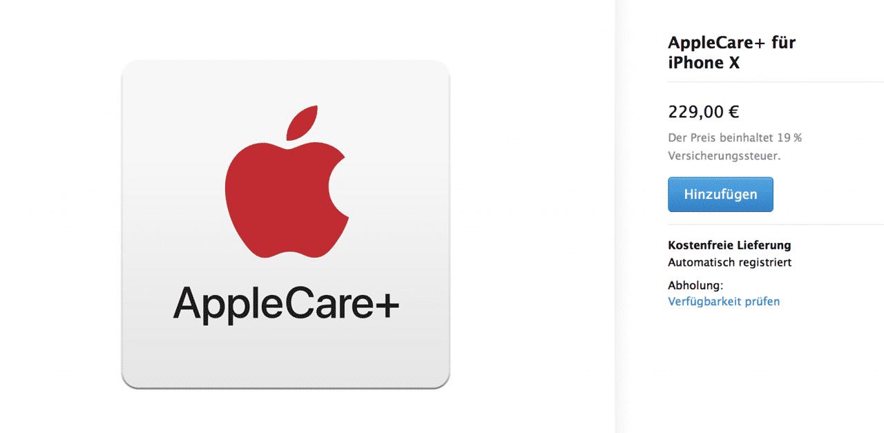 Für das teure iPhone X fällt auch Apples Zusatzversicherung teurer aus.