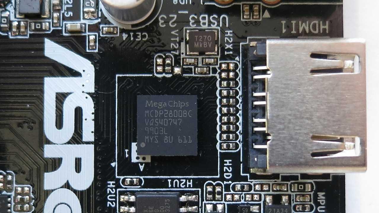 Für HDMI 2.0 braucht der Core i-8000 weiterhin einen LSPCon wie den MegaChips MCDP2800