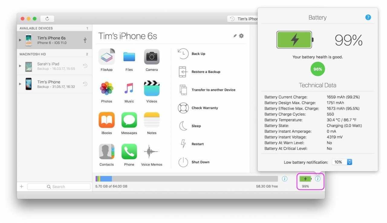 iMazing zeigt die Batteriegesundheit an.