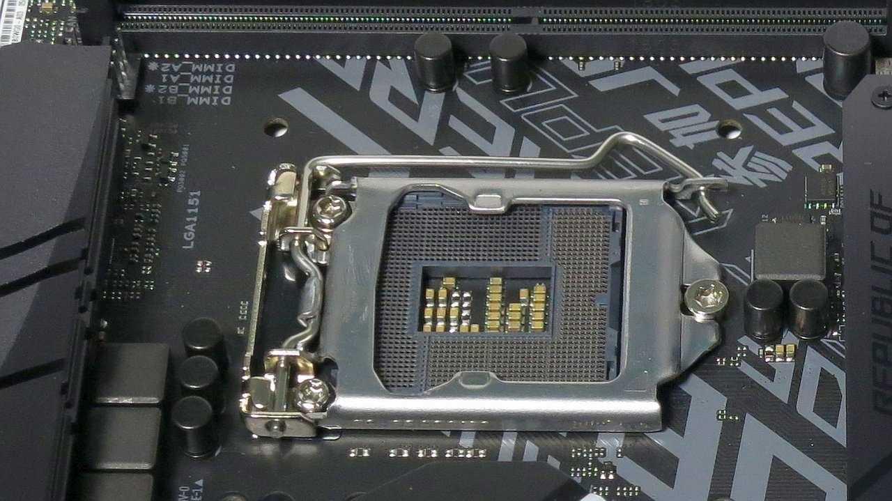 LGA1151-Fassung auf Mainboard mit Serie-300-Chipsatz