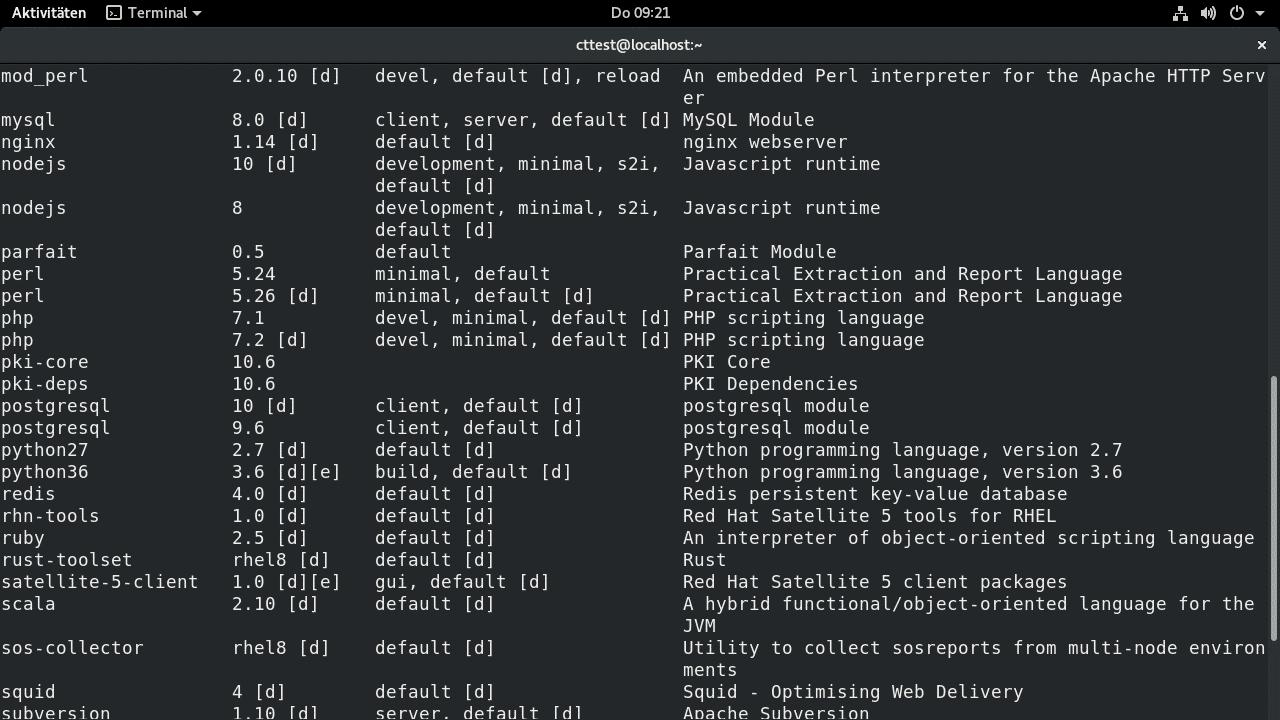 Node.js, PHP, PostgreSQL und einige anderen Software liegen in unterschiedlichen Versionen bei.