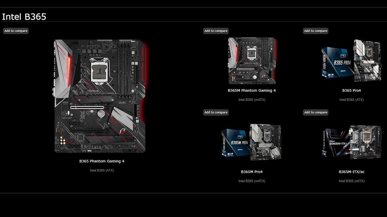 ASRock-Mainboards mit Intel-Chipsatz B365