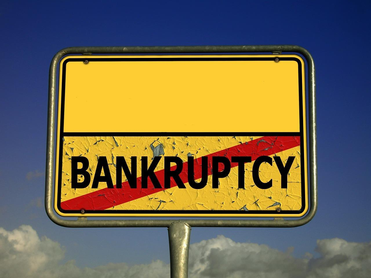 """Ortschild Ende """"Bankruptcy"""""""