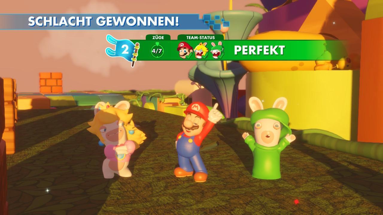 Läuft bei Ihnen: Rabbid-Peach, Mario und Rabbid-Luigi sind die Helden des Startteams.