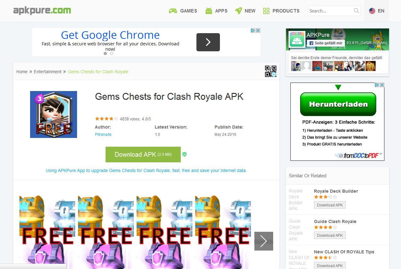 Vorsicht: Noch immer  ist Gems Chests für Clash Royale aka Calljam in vielen alternativen App-Stores verfügbar.