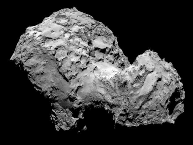 Auf einem neuen Foto, das die ESA am Mittwoch veröffentlicht hat, ist die zerklüftete Oberflächenstruktur von Komet 67P/Tschurjumow-Gerassimenko sehr gut zu erkennen.