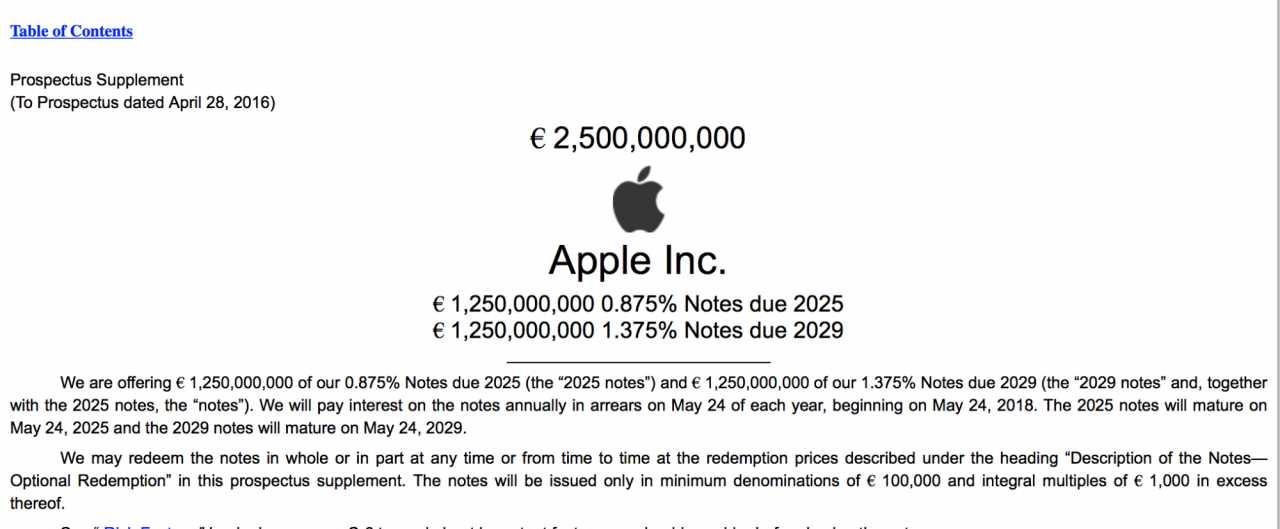 Die neuen Bonds gibt Apple wieder in Euro aus.