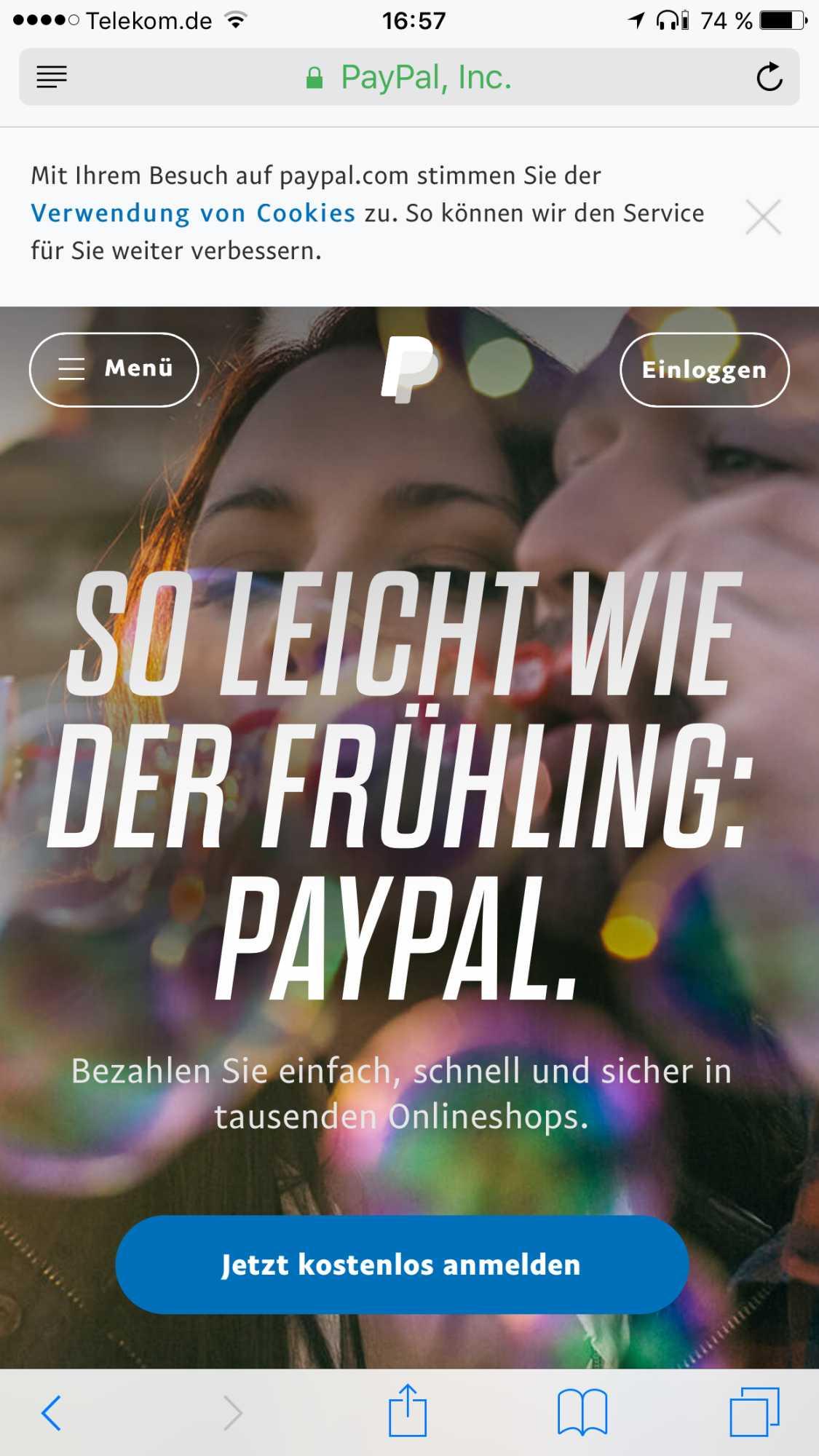 Safari öffnet klaglos eine angeblich sichere Verbindung zu PayPal.