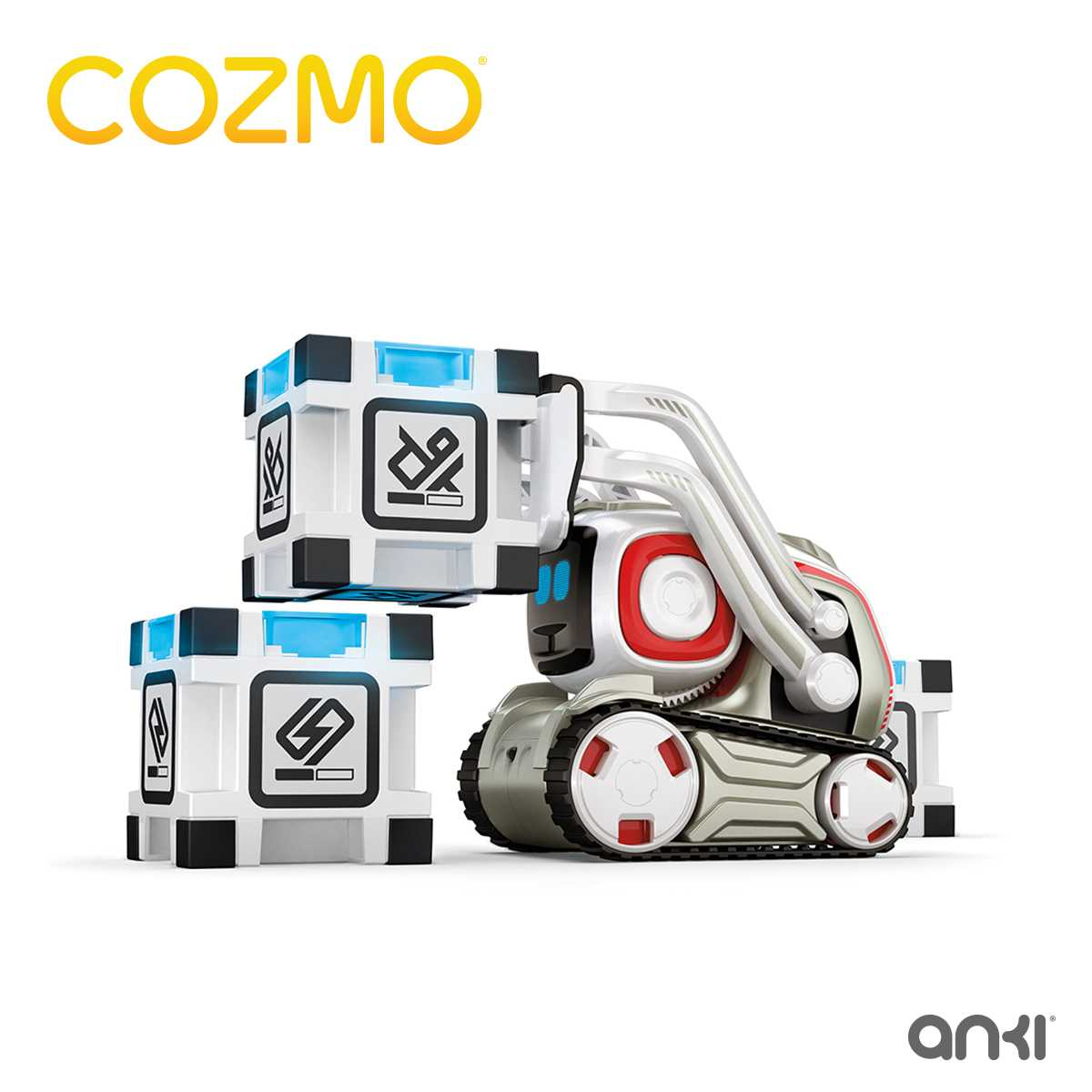 """Cozmo kann mit den drei interaktiven """"Power-Cubes"""" allerlei Kunststücken zeigen."""