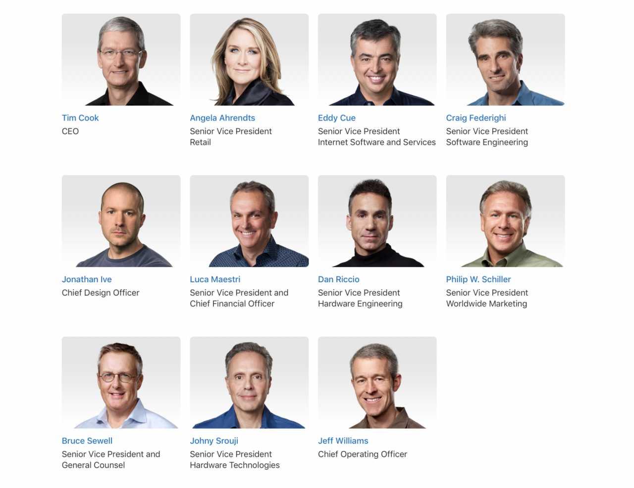 Apples oberste Management-Ebene.