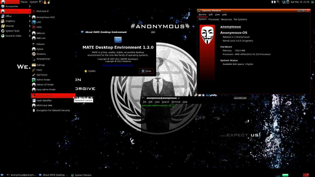 Anonymous os 0 1 basiert zwar auf ubuntu 11 10 verwendet aber den