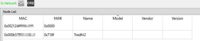 Tabelle mit der MAC-Adresse von Tradfri: 00:0B:57