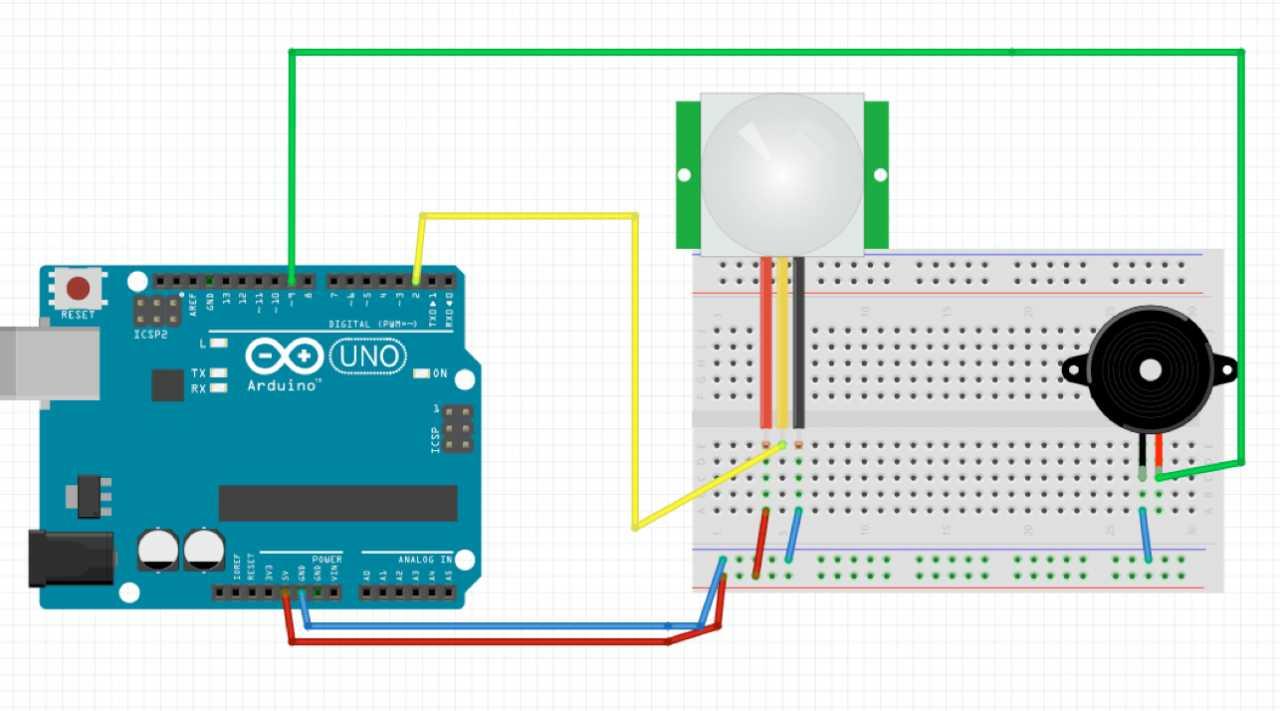 Die Schaltung mit Lautsprecher (Piezo) und PIR-Sensor