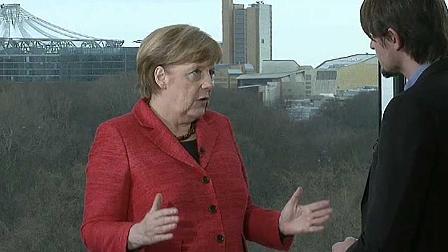 Angela Merkel im Gespräch
