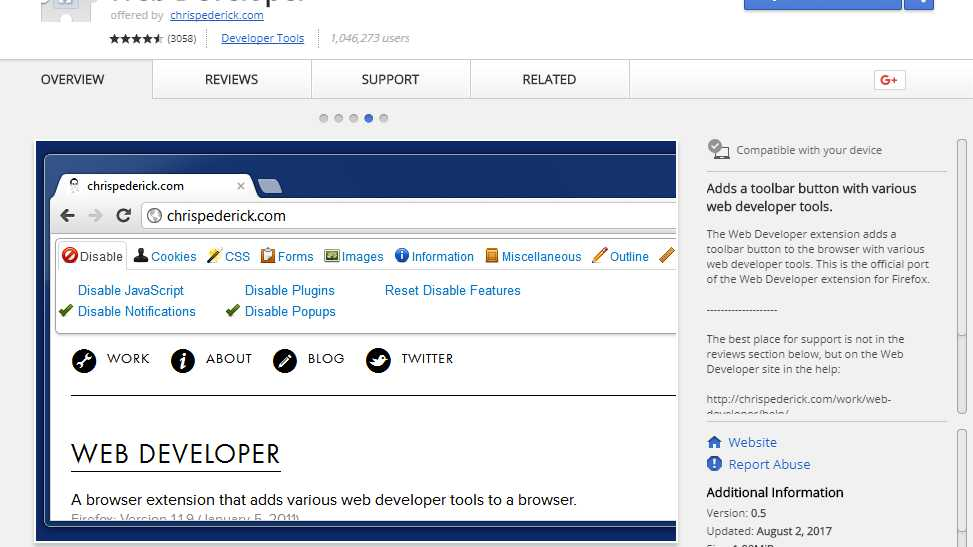 Werbeverseuchte Version von Chrome-Erweiterung Web Developer im Umlauf
