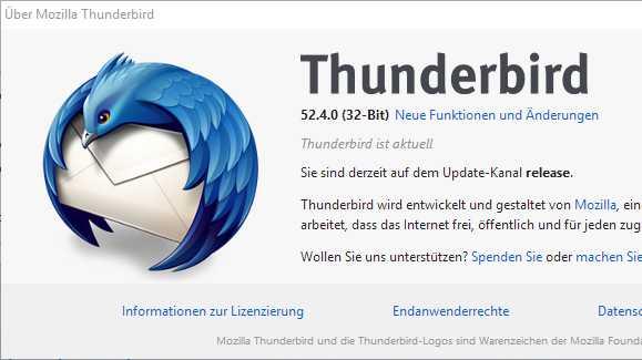 Kritische Sicherheitslücke in Thunderbird 52.4 geschlossen