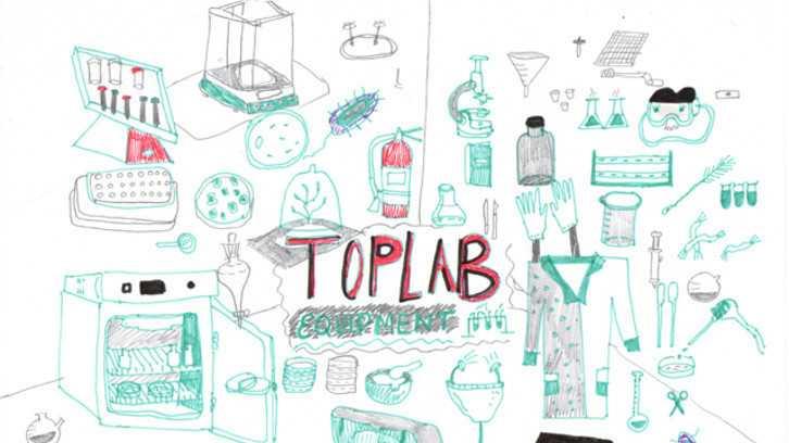 Eine Zeichnung von biotechnologischen Geräten
