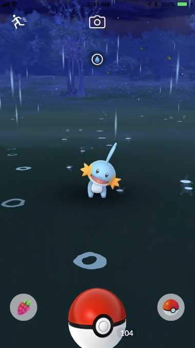 Wasser-Pokémon Hydropi bei Regen