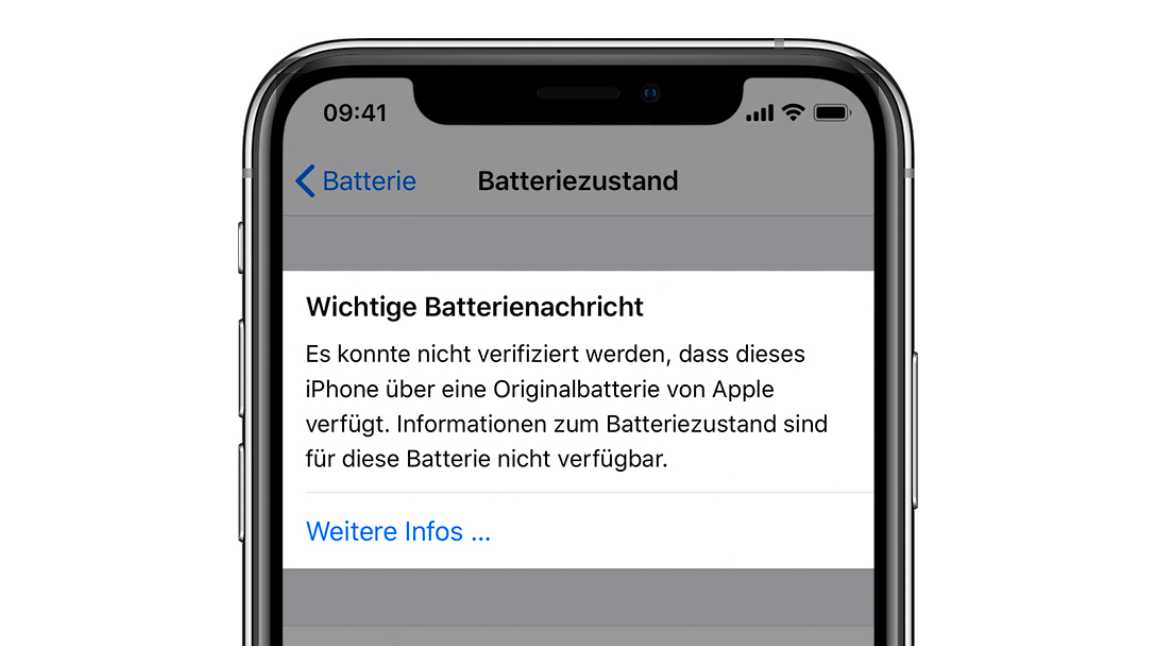 iPhone-Batteriewarnung