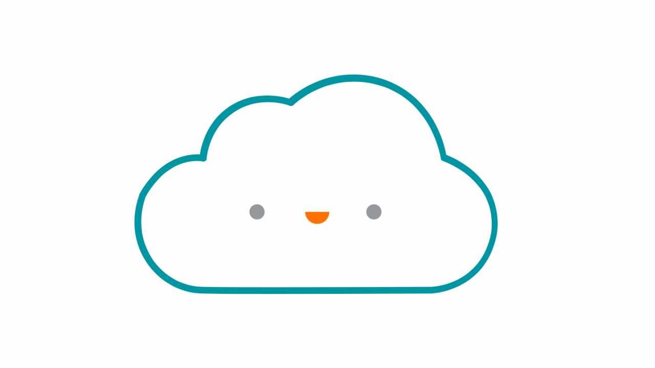 Umriss einer Wolke mit Smiley.