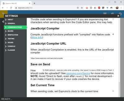Screenshot der Einstellungen in der Espruino IDE.