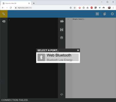 "Screenshot der Espruino-IDE mit der Meldung ""Select a Port: Web Bluetooth, Bluetooth Low Energy""."