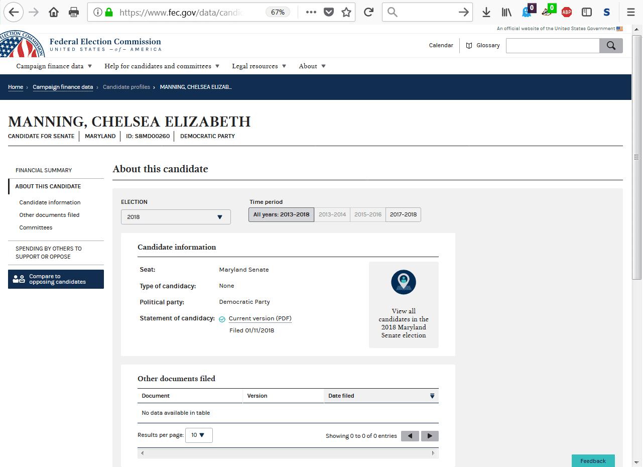 Mannings offizieller Eintrag im Kandidatenverzeichnis für die Senatswahlen im US-Staat Maryland.