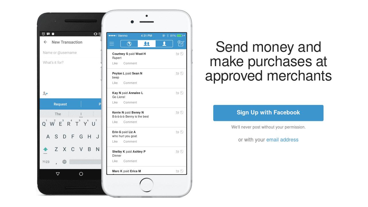 Screenshot von Venmos Website, der ein Handy mit laufender Venmo-App zeigt.