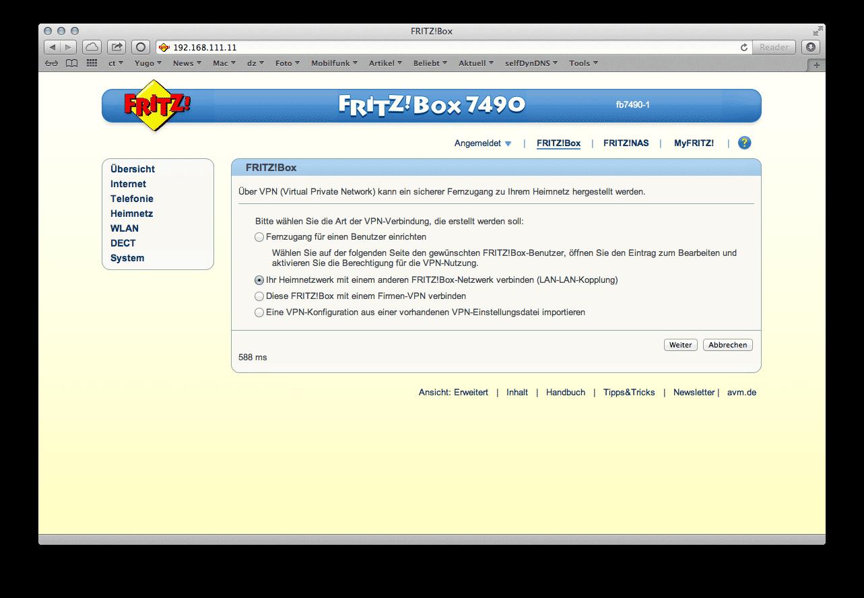 Beginnend mit der Fritz!Box 7490 lässt sich das IPSec-VPN nicht nur im Browser einschalten, sondern auch weitreichend konfigurieren -- Roadwarrior-Szenario und LAN-zu-LAN-Kopplung inklusive.
