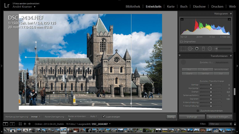 Lightroom CC 2015.6 bietet geführte Perspektivkorrektur
