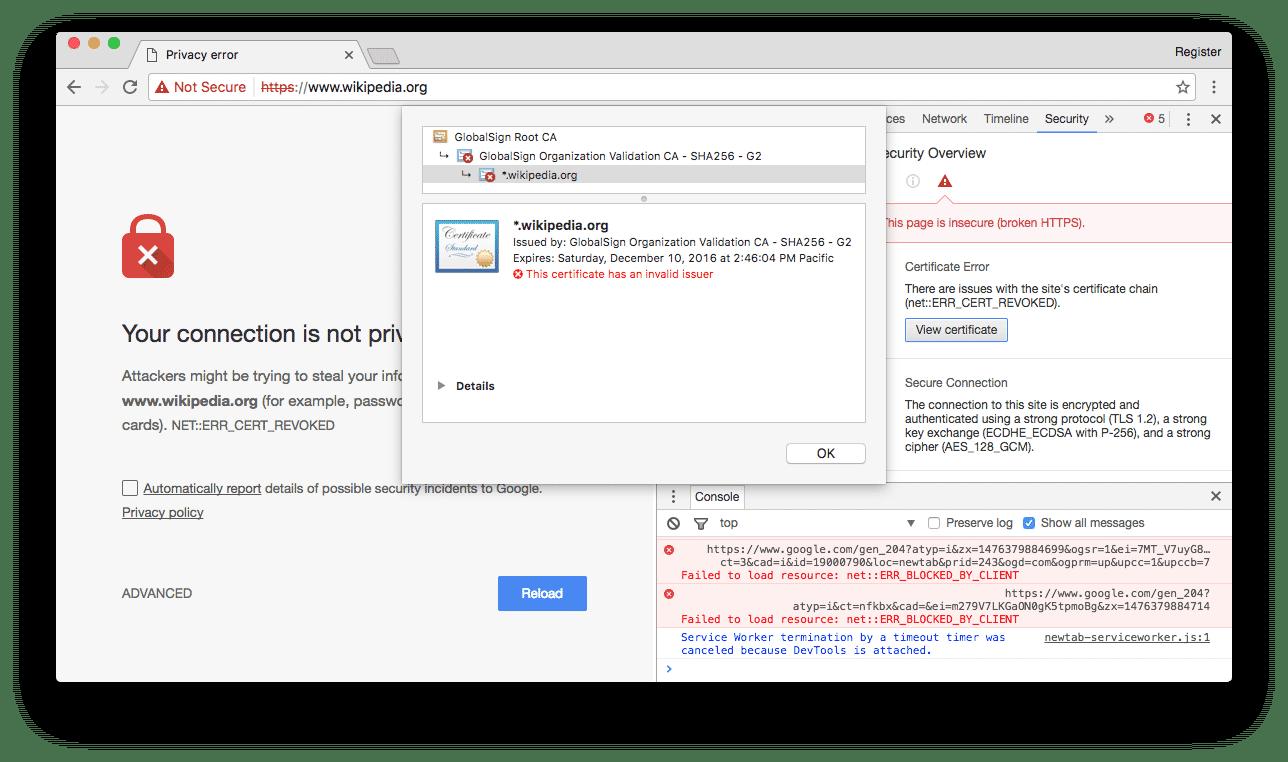GlobalSign hat versehentlich Zertifikate von Webseiten wie Wikipedia kaputt gemacht. Auch wenn das Zertifikat im Screenshot noch bis zum 12. Dezember 2016 gültig ist, vertraut der Webbrowser diesem nicht mehr.