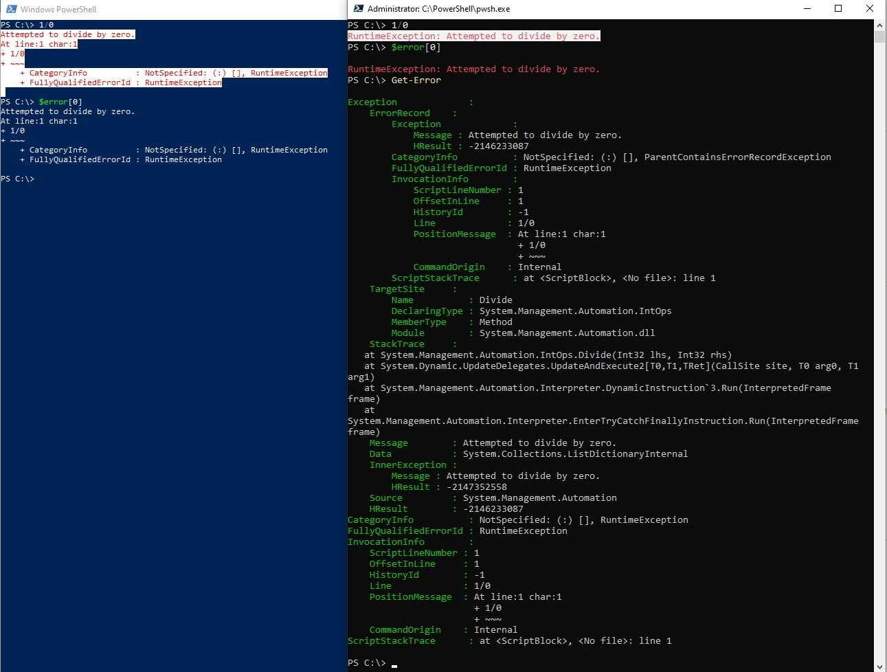 Vergleich der Fehlerausgabe in Windows PowerShell 5.1 und PowerShell 7.0