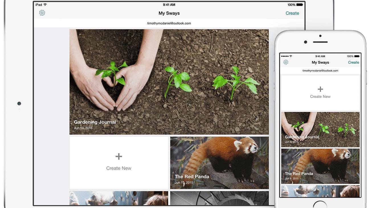 Microsoft-Kreativ-App Sway kommt aufs iPad