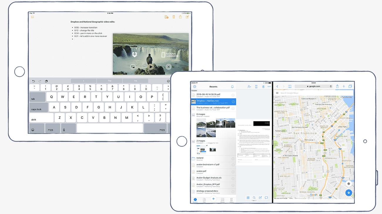 Dropbox auf dem iPad mit Split View