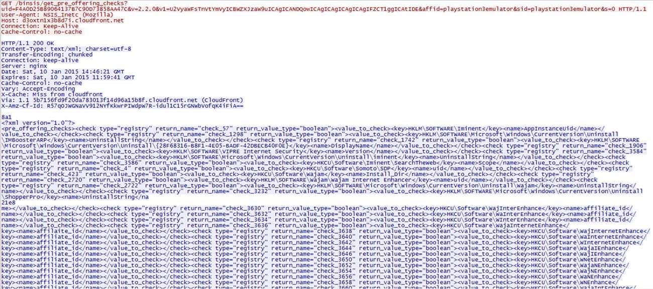 GET-Requests mit Parametern und Empfang der XML-Datei binsischeck654.xml.