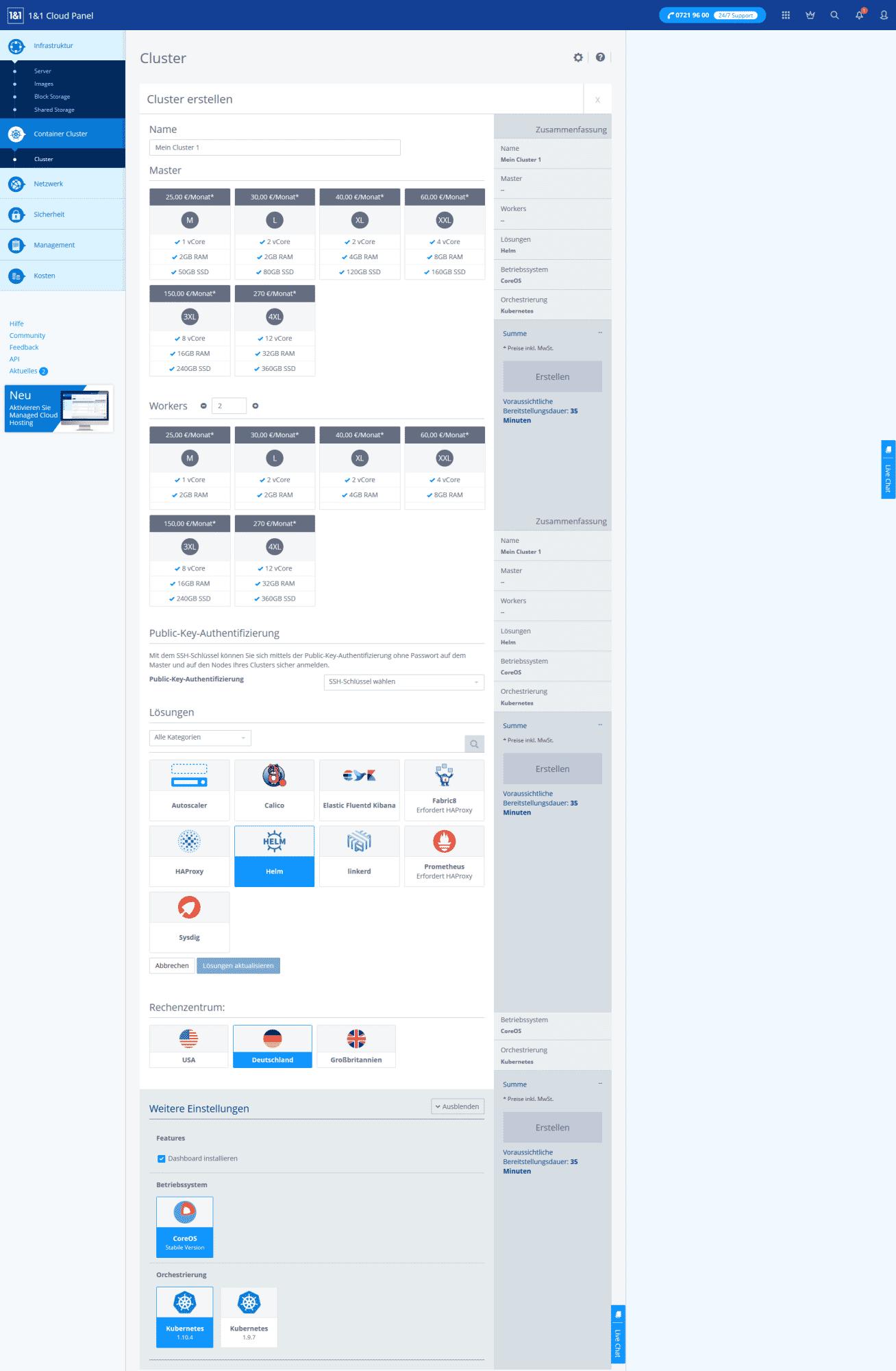 Cloud-Panel zum Erstellen von Clustern