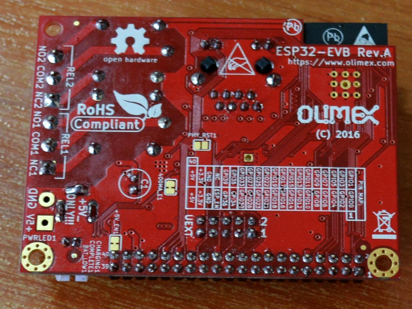 Rückseite des ESP32-EVB IoT-Entwicklungsboards