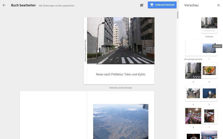 """Google Fotos verspricht ein schickes Fotobuch """"in wenigen Minuten"""". Die Gestaltung passiert im Browser oder in der App."""