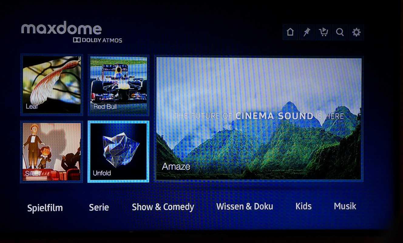 Maxdome streamt beim Atmos-Test Videoclips, die auch auf der offiziellen Testdisc von Dolby zu finden sind