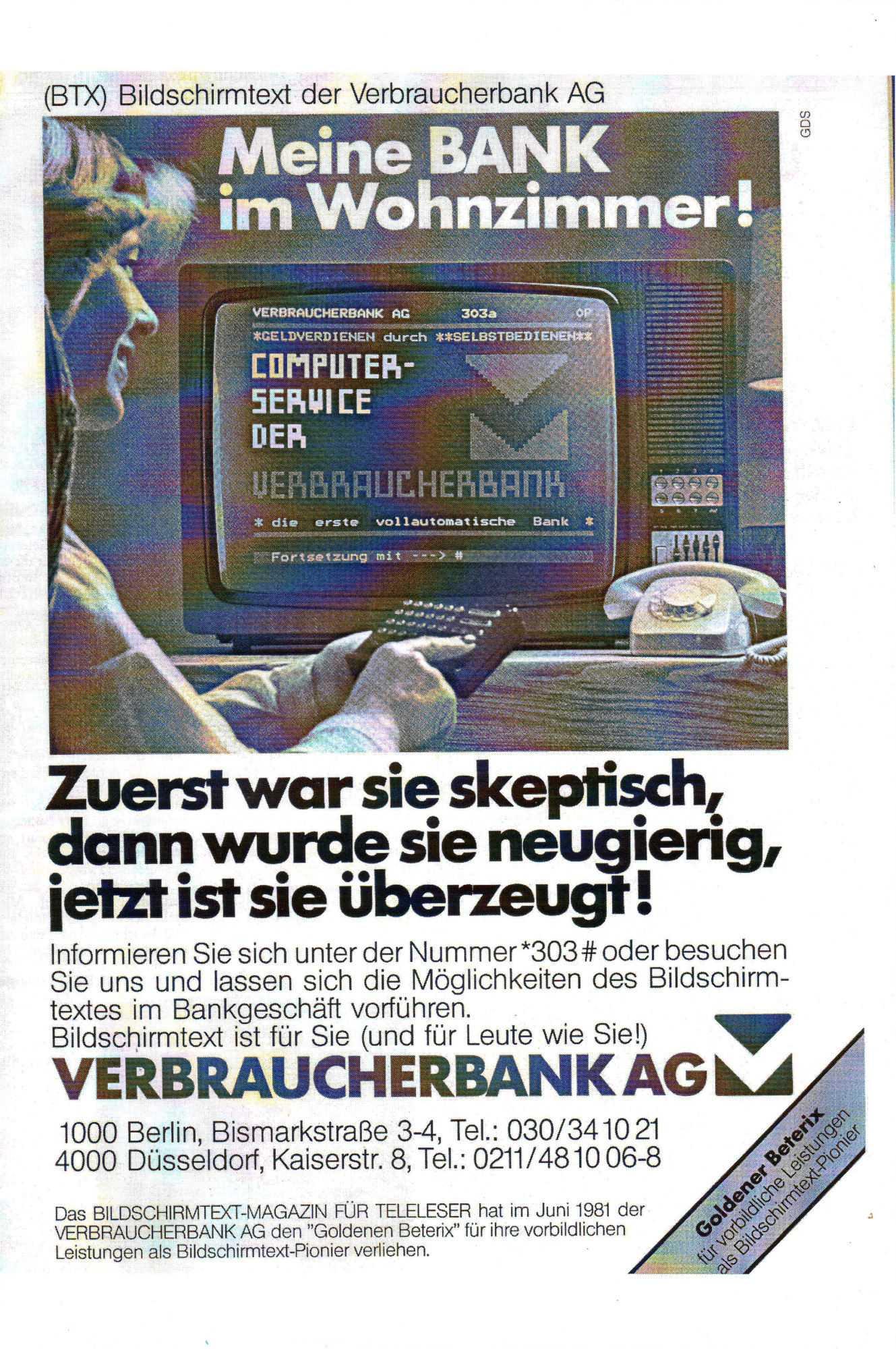 ...und Werbung fürs Online-Banking ein Jahr später