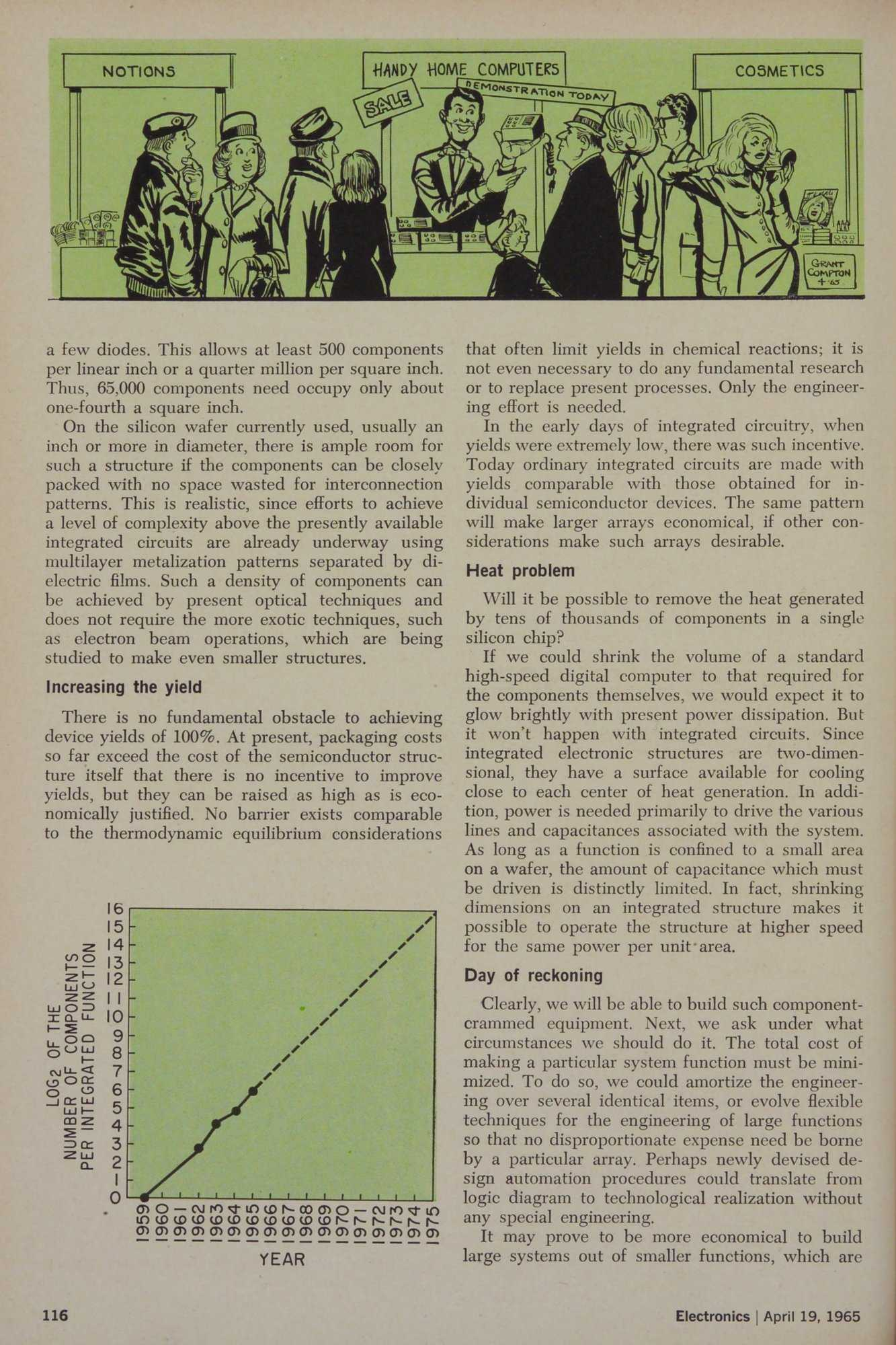 Karikatut mit Mac-mini-ähnlichem Gerät im Electonics-Artikel von Gordon Moore